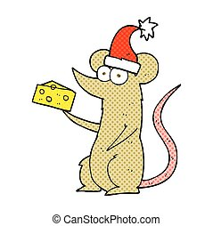 cartoon christmas mouse with cheese - freehand drawn cartoon...