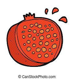 cartoon pomegranate - freehand drawn cartoon pomegranate
