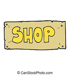 cartoon shop sign - freehand drawn cartoon shop sign