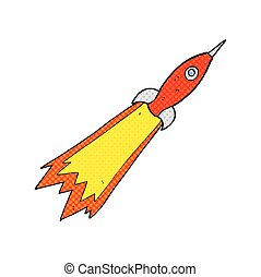 comic book style cartoon rocket