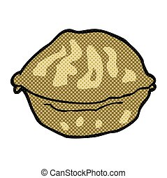 cartoon walnut in shell - freehand drawn cartoon walnut in...