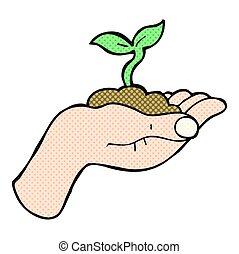 cartoon seedling growing held in hand - freehand drawn...