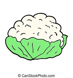 cartoon cauliflower - freehand drawn cartoon cauliflower