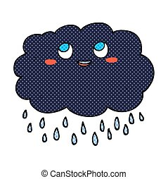 comic book style cartoon raincloud - freehand drawn comic...