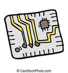 cartoon computer circuitboard - freehand drawn cartoon...