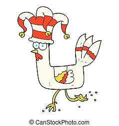 cartoon chicken running in funny hat