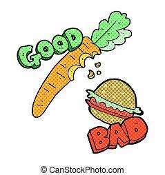 cartoon good and bad food