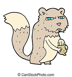 cartoon angry squirrel with nut