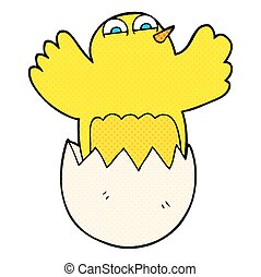 cartoon hatching egg - freehand drawn cartoon hatching egg