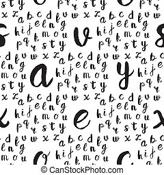 Seamless pattern with black alphabet letters on white...