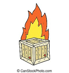 cartoon burning crate - freehand drawn cartoon burning crate