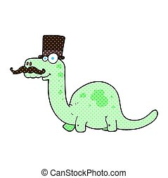 cartoon posh dinosaur - freehand drawn cartoon posh dinosaur