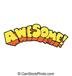 cartoon word awesome - freehand drawn cartoon word awesome