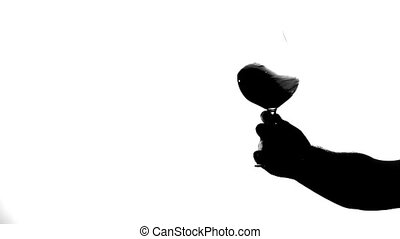 Transparent glass of red wine, white, silhouette -...