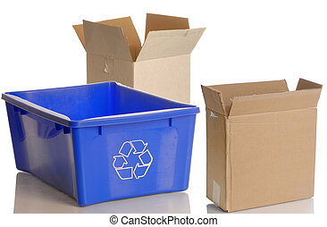 blue recycle bin and empty cardboard boxes isolated on white background