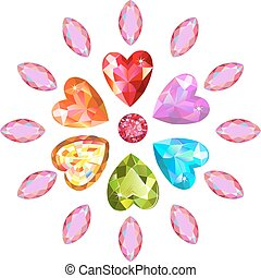 Texture of colored marquise & heart cut gems isolated on...