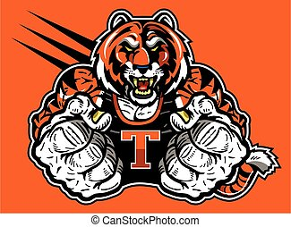 tiger mascot - muscular tiger mascot design for school,...