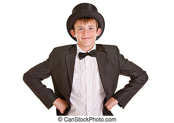 Smiling Young Boy in Formal Wear with Top Hat - Half Body...