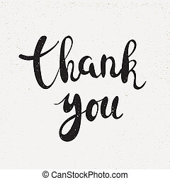Thank you handwritten calligraphy vector illustration, Black...
