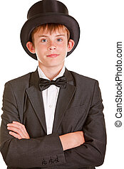 Boy in Black and White Formal Suit with Top Hat - Half Body...