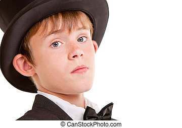 Confident Boy in Formal Wear with Top Hat - Confident Young...