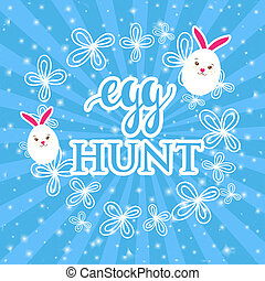 Abstract easter card with a cute white rabbits in a shape of...
