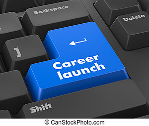 career launch - Text career launch button 3d render