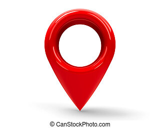 Red map pointer #2 - Red map pointer isolated on white...