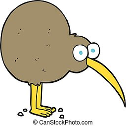 cartoon kiwi - freehand drawn cartoon kiwi