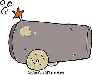 cartoon cannon - freehand drawn cartoon cannon