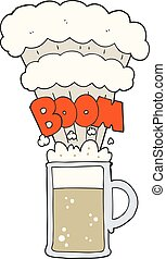 cartoon exploding beer - freehand drawn cartoon exploding...