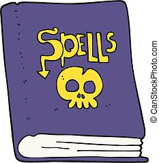 cartoon spell book - freehand drawn cartoon spell book