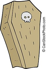 cartoon spooky coffin - freehand drawn cartoon spooky coffin