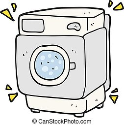 cartoon rumbling washing machine - freehand drawn cartoon...