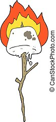 cartoon toasted marshmallow - freehand drawn cartoon toasted...