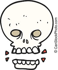 cartoon scary skull - freehand drawn cartoon scary skull