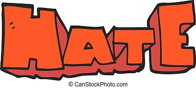 cartoon word Hate - freehand drawn cartoon word Hate