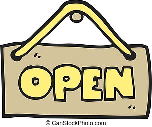 cartoon open shop sign - freehand drawn cartoon open shop...