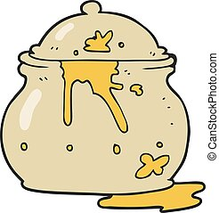cartoon messy mustard pot - freehand drawn cartoon messy...