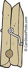 cartoon wooden peg - freehand drawn cartoon wooden peg