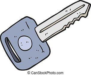 cartoon car key - freehand drawn cartoon car key