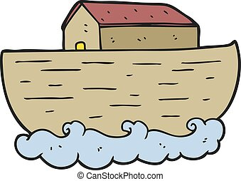 cartoon noah's ark - freehand drawn cartoon noah's ark