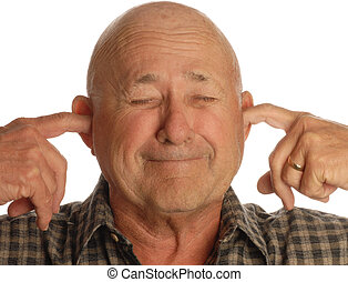 bald senior man plugging his ears isolated on white...