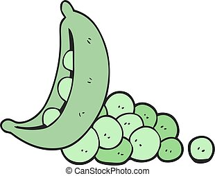 cartoon peas in pod - freehand drawn cartoon peas in pod