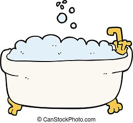 cartoon bathtub - freehand drawn cartoon bathtub