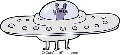 cartoon flying saucer - freehand drawn cartoon flying saucer