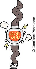 cartoon wrist watch - freehand drawn cartoon wrist watch