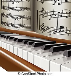 Piano-Music notes-Melody - Illustration of the piano with...