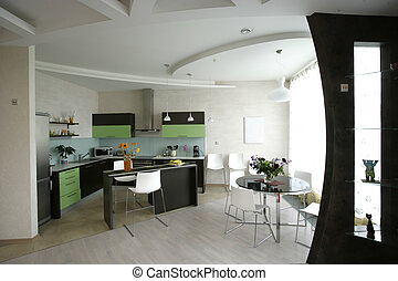 interior of kitchen and dinning room