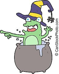 cartoon halloween toad - freehand drawn cartoon halloween...